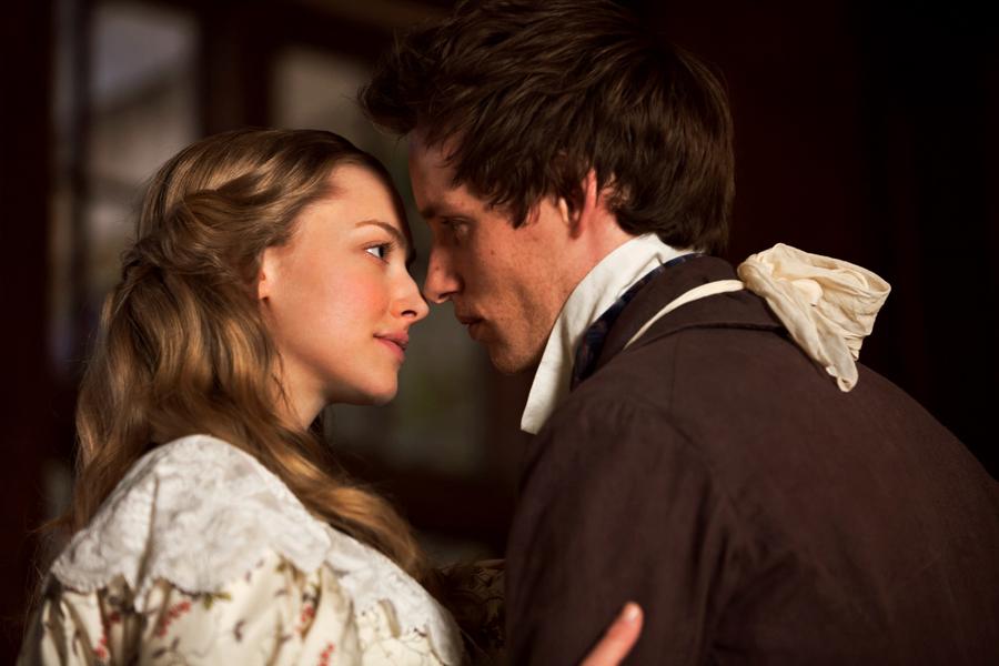 Amanda Seyfried as Cosette and Eddie Redmayne as Marius.Image: Laurie Sparham/Universal Pictures
