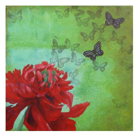 Peony and butterflies by Kim Kerr