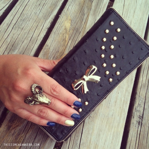 Nails by Monaco Nails & Beauty; Ram's Head Ring by Young Pilgrims Jewellery and wallet from Hywin Shoes