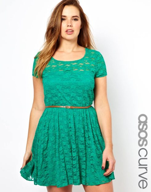 ASOS Curve Lace Skater Dress with belt $49.11 from ASOS