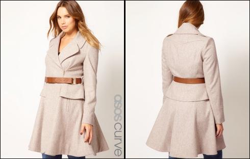 ASOS CURVE Exclusive Peplum Coat With Belt