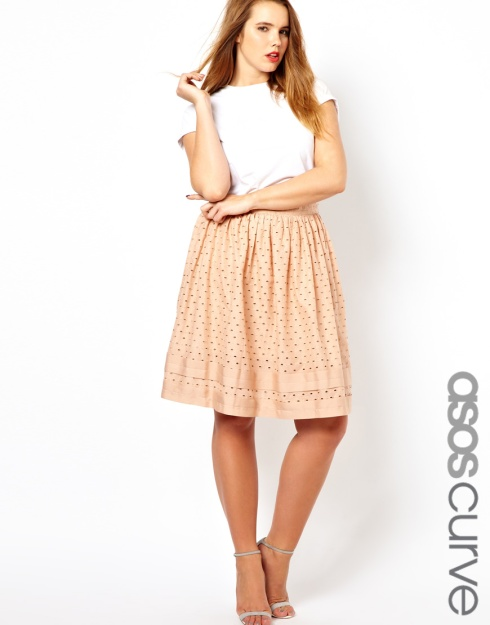 ASOS CURVE Midi Skirt in Cotton Cutwork