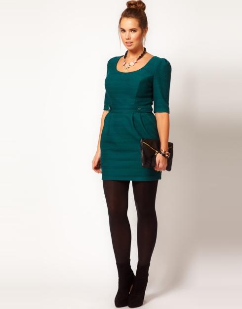 ASOS CURVE Exclusive Textured Pencil Dress - Teal